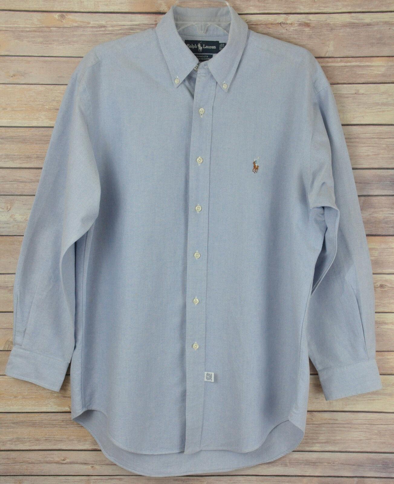 82d38dd0b77 RALPH LAUREN bluee Yarmouth Cotton Oxford Button Down Dress Shirt 16-33