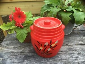 Vintage-1930-039-s-Ransburg-Floral-Pottery-Cookie-Jar-Crock-With-Lid-Hand-painted