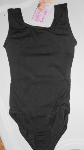 NWT Sansha EF9205 Girls Dance leotard Black Tank style Cotton spandex