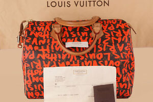 LOUIS-VUITTON-Speedy-30-GRAFFITI-Orange-Neon-Tasche-SPROUSE-Hand-Bag-RECHNUNG