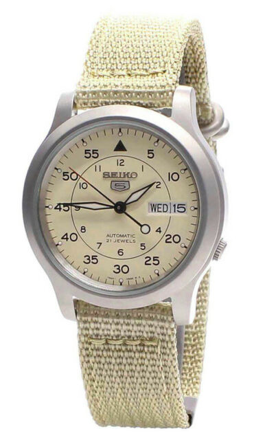 Seiko 5 Automatic Mens Beige Dial Day Date Nylon Strap Watch SNK803 SNK803K2