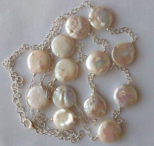 Collana lunga perle di fiume tonde moneta catena Argento 925 con chiusura 90 cm