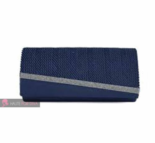NEW LADIES RUCHED DIAMANTE CRYSTAL STUDDED VELOUR SATING CLUTCH HANDBAG PURSE