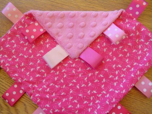 Personalisation available Fuchsia Flamingo Taggy Blanket 2 sizes
