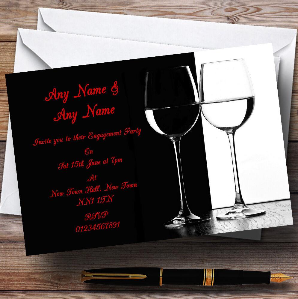 Negro blancoo Rojo Vino fiesta de compromiso Personalizado Invitaciones