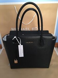 8859490ed8af NWT MICHAEL KORS STUDIO MERCER LARGE Black Pebble Leather SATCHEL ...