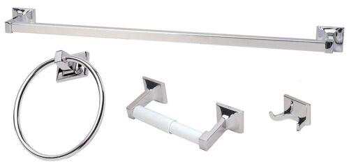 new model chrome 4 Piece Bathroom Hardware Bath Accessory Set towel bar ring