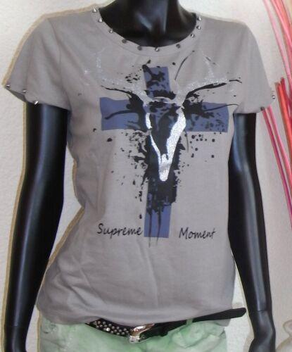 40 42 44 46 Cooles Shirt mit Kreuz und Nieten figurbetont echt stylisch Gr