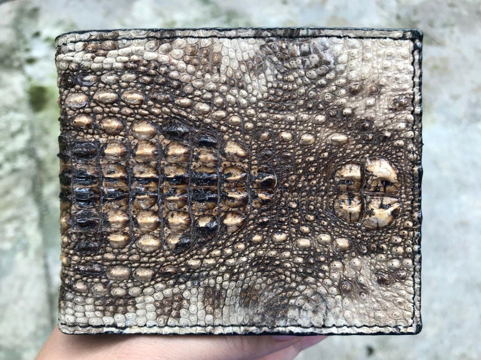 New Genuine Leather Crocodile Alligator Skin Men Bifold Wallet Handmade