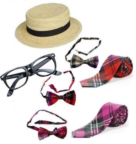 Adults Fancy Dress Hat Red Tartan Tie Bow Tie School Girl Nerd Glasses 1980's