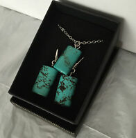 """Qvc Silver Plated Earrings And Pendant Set W/ Turquoise Stone 18"""" Long Chain"""