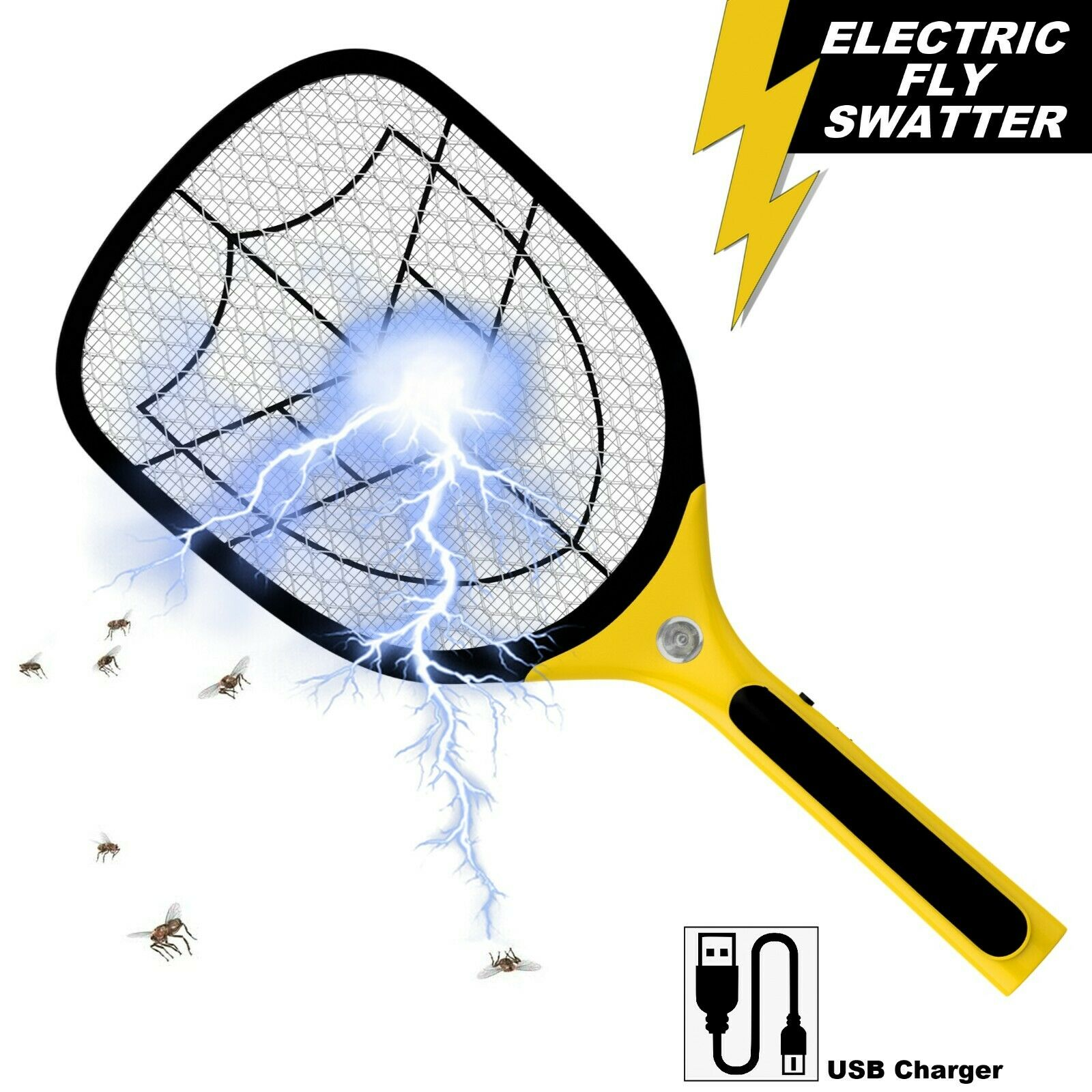 Bug Zapper Racket Fly Killer Electric Wasp Mosquito Insect Pest Swatter Bat USB