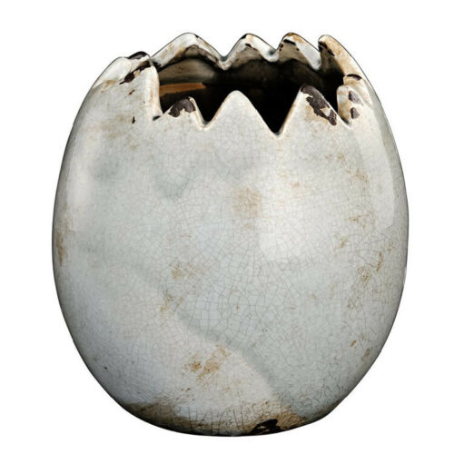 Pflanztopf aus Keramik Eiform Krakelee grau