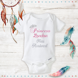 Personalized Name Princess Baby Girl Clothes Onesies & Hat Baby Shower Gift Set