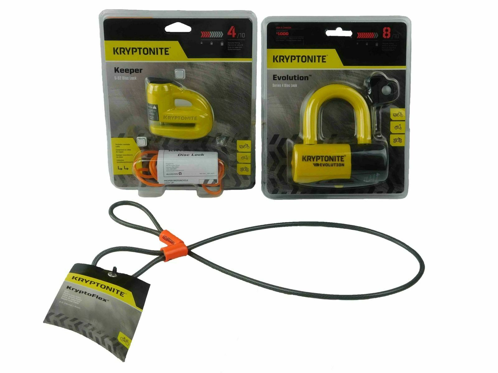 Kryptonite Keeper 5S2 Disc Lock gituttio wReminder e 525 2.5ft Looped cable