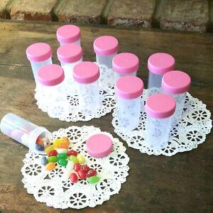 20-Prescription-Style-Pill-Bottle-Plastic-JARS-PINK-Caps-1-5oz-Container-3814