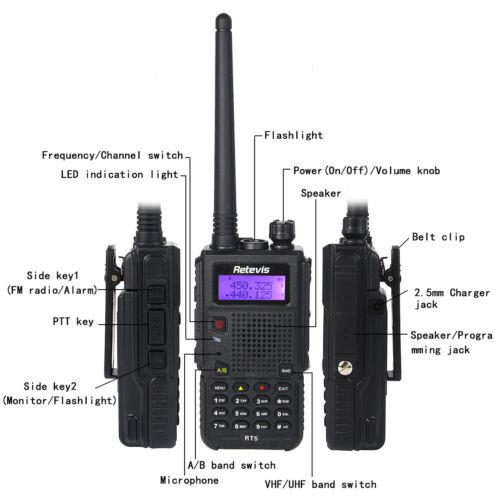 2× Retevis RT5 128CH 2Way Walkie Talkie UHF//VHF large Capacity 1750Hz /& Earpiece