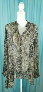 Zara-Woman-Asymmetrical-Sheer-Paisley-Black-Blouse-Size-Large-New-Without-Tags