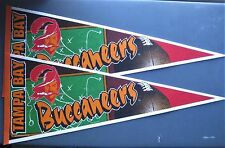 """LOT OF TWO VINTAGE TAMPA BAY BUCCANEERS OLD LOGO PENNANT 12"""" x 30"""" NEW FREE SHIP"""