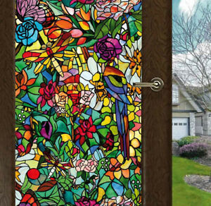 Flower-Blossom-Chapel-Window-Film-Sticker-Cling-Stained-Glass-Decor-UV-Block-DIY