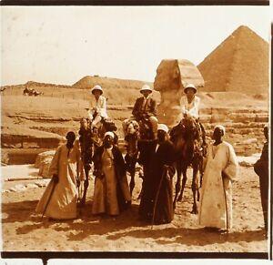 EGYPTE-Voyage-Sphinx-Pyramides-de-Gizeh-ca-1910-Photo-Stereo-Plaque-Verre