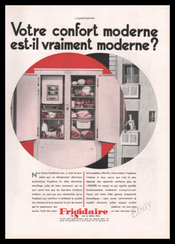 1931 FRIGIDAIRE REFRIGERATOR Decor Kitchen ad French Vintage Advertising Z2