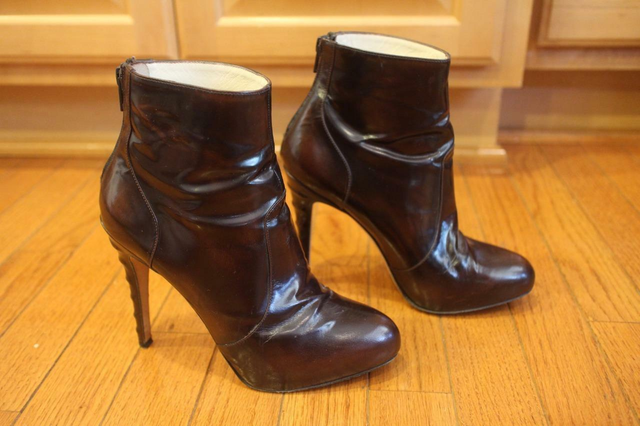 BRIAN BRIAN BRIAN ATWOOD Leather Ankle Heel BACK ZIP Booties SIZE 36.5 (BOTA1300 d6ff8c