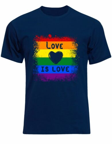 Colours Mens Tee Shirt Top AK83 Love Is Love Gay Flag LGBG Heart