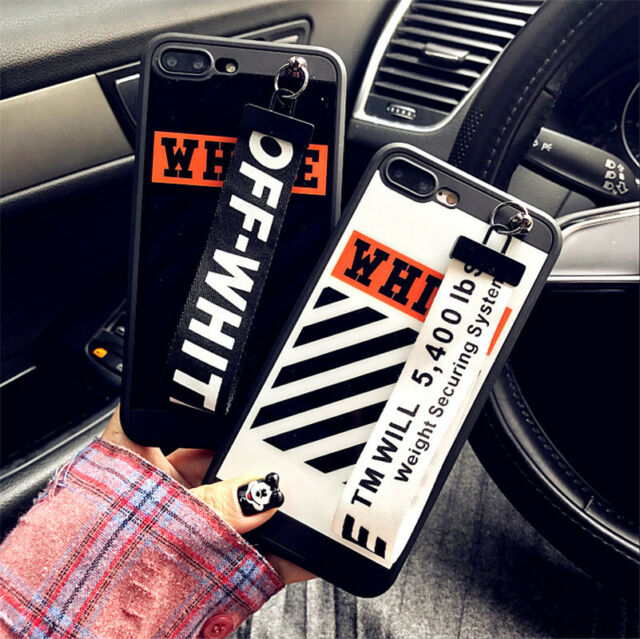 Off White Striped Phone Case Soft Cover For iPhone 6 6s plus 7 7plus with Strap