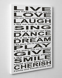 Image Is Loading Large Live Love Laugh Sing Dance Dream Quote