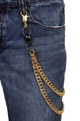 Men Gold Metal Wallet Chains KeyChain Biker Jeans Rocker 2 Strands Black Skulls