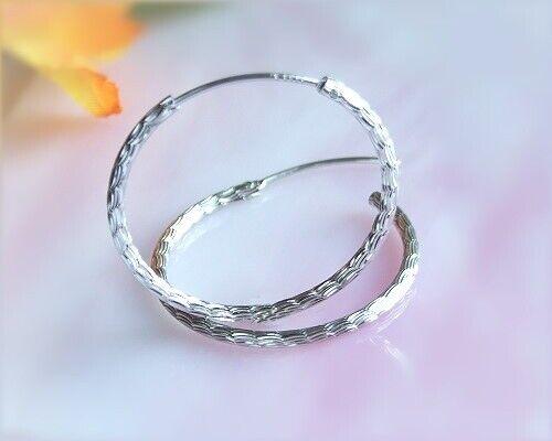 Creolen Silber 925 1,8 mm Ø 28 mm Ohrringe m Muster echt Sterlingsilber sc87