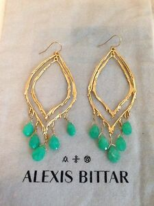 Image Is Loading New Alexis Bittar Large Green Jade Drop Dangle