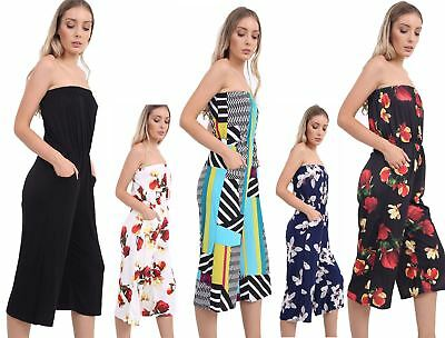 Gut Ausgebildete Womens Bardoot Off Shoulder Boobtube Printed Jumpsuit Ladies Strapless Playsuit