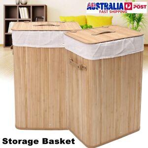 Bamboo-Laundry-Hamper-Basket-Sorter-Bin-Organizer-Lid-Wicker-Clothes-Storage