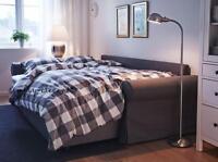 IKEA Full Queen Duvet Quilt Cover 3pc set  Emmie Ruta Plaid Check Stripe Gray