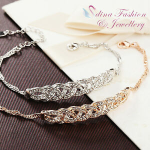 18K-White-amp-Rose-Gold-GP-Made-With-Swarovski-Element-Love-Waltz-Braided-Bracelet