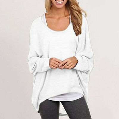 AU Women Oversized Loose Long Sleeve Shirt Baggy Plus Tops Blouse Batwing Jumper