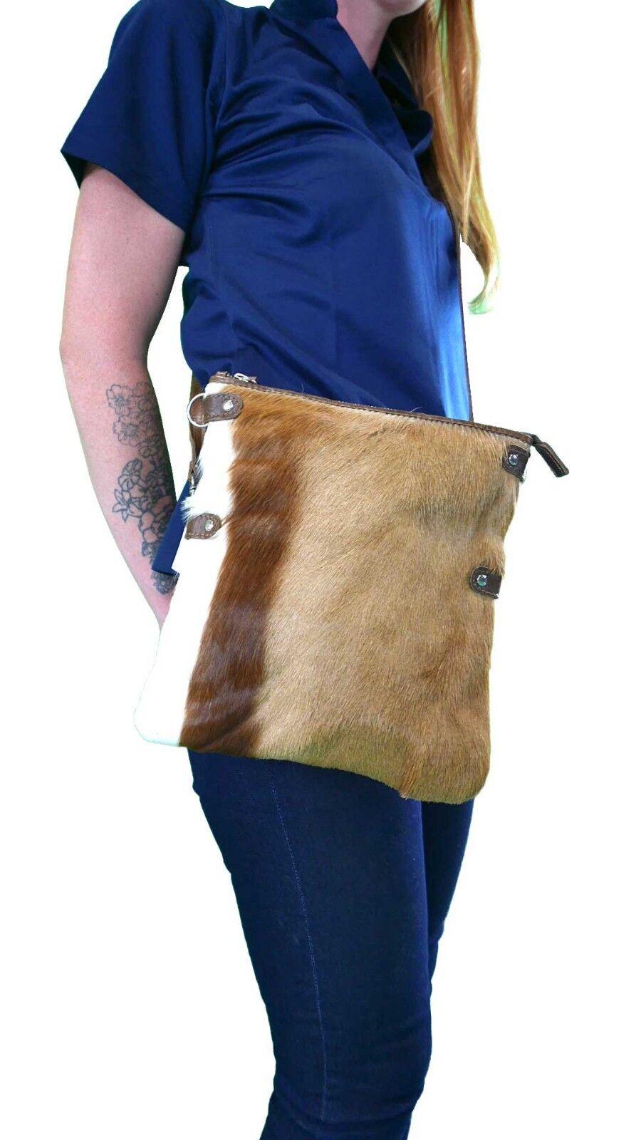 Springbok Leather Handbag real leather springbok hand bag Mini Foldover Zip Top