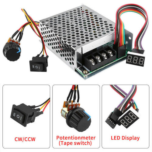 DC 10-55V 60A PWM Motor Speed Controller CW CCW Reversible Switch 12V 24V 36V·UK