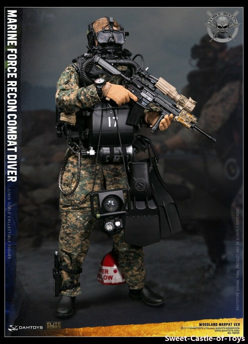 1 6 Dam Toys US Marine Force Recon Combat Diver Woodland Marpat Ver 78055 Figure