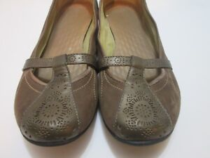 Privo-Brown-Suede-Leather-Bronze-Mary-Jane-Ballet-Flats-Women-039-s-Shoes-Size-9-M