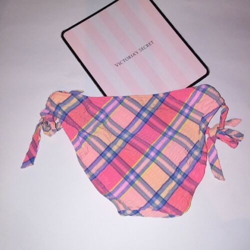 Victoria Secret Swim Suit Bikini Bottom Orange Blue Plaid Side Tie