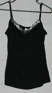 NEW-Hot-Options-Black-tank-cam-with-sequin-on-front-SIZE-10
