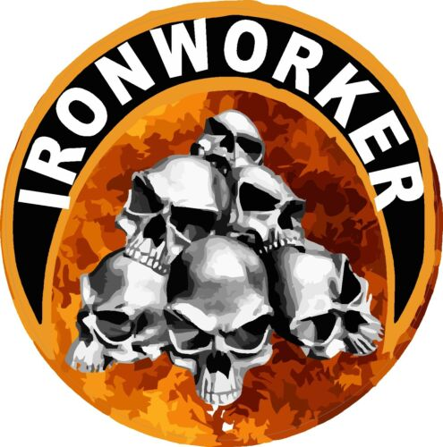 round Sticker CIW-17 ironworker with skulls and flames