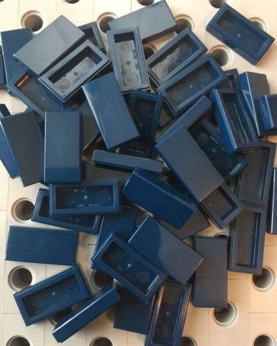 Lego Earth Blue 1x2 Flat Tiles Smooth Finishing Tile Buildings  Floor Lot Of 50