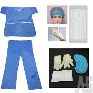 HALLOWEEN-FANCY-DRESS-DOCTORS-NURSES-SCRUB-SUIT-in-BLUE-with-MASK-GLOVES-amp-HAT