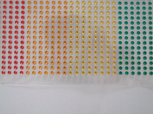 3mm Adhesive Coloured Gems 7 colours 1080 in total