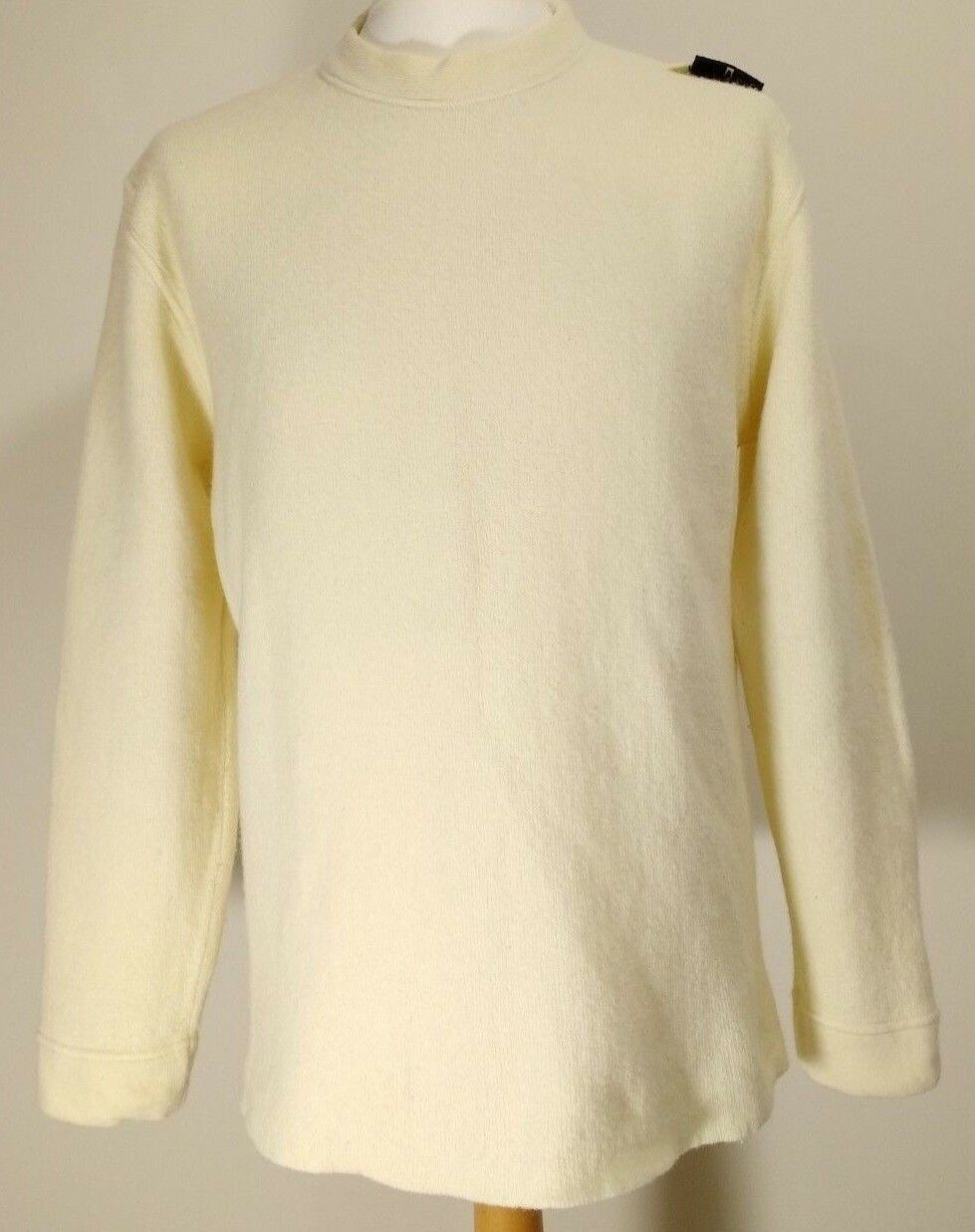 Vintage  Herren Stone Island Wool Blend Cream Rare Shoulder Badge Sweater Jumper XL