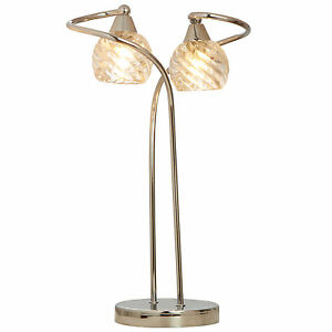 libby modern twin light table lamp clear spiral glass. Black Bedroom Furniture Sets. Home Design Ideas